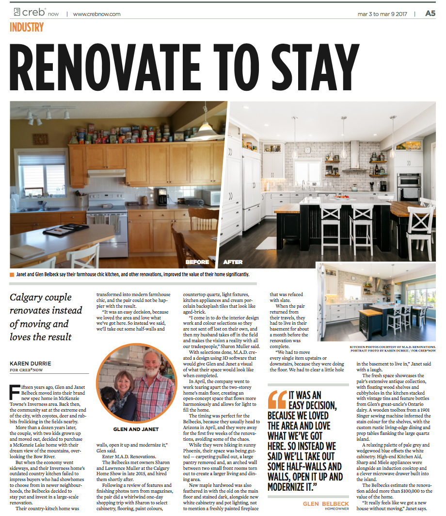 renovation article about mad renos - renovate to stay